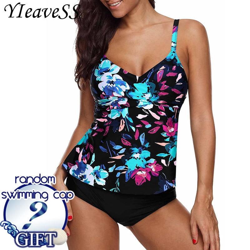 8d2d4799303 2019 Plus Size Tankini Swimming Suit 5XL Tow Piece Frint Floral Loose  Swimsuit Women s Separate Bikini Waist Push Up Swimwear