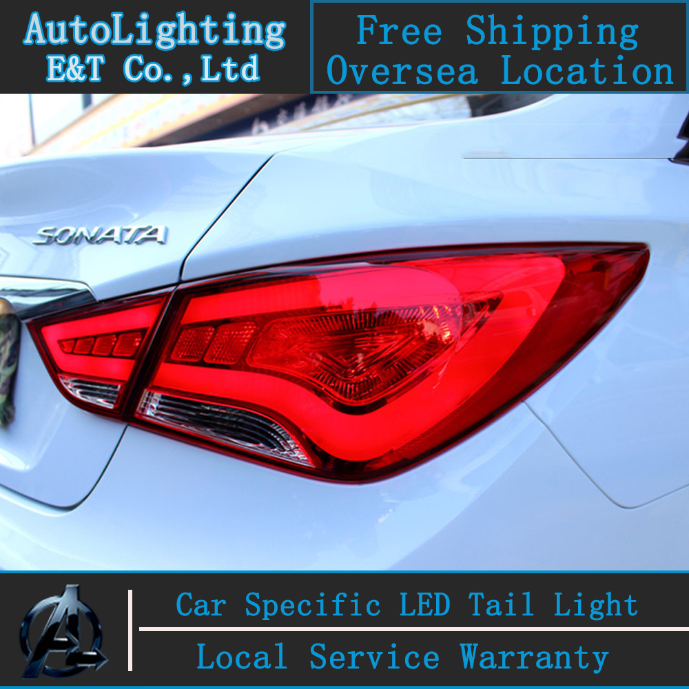 Car Styling For Hyundai Sonata LED taillight assembly 2011-2014 Sonata8 Tail Lamp led drl rear lamp cover signal+brake 2pcs.