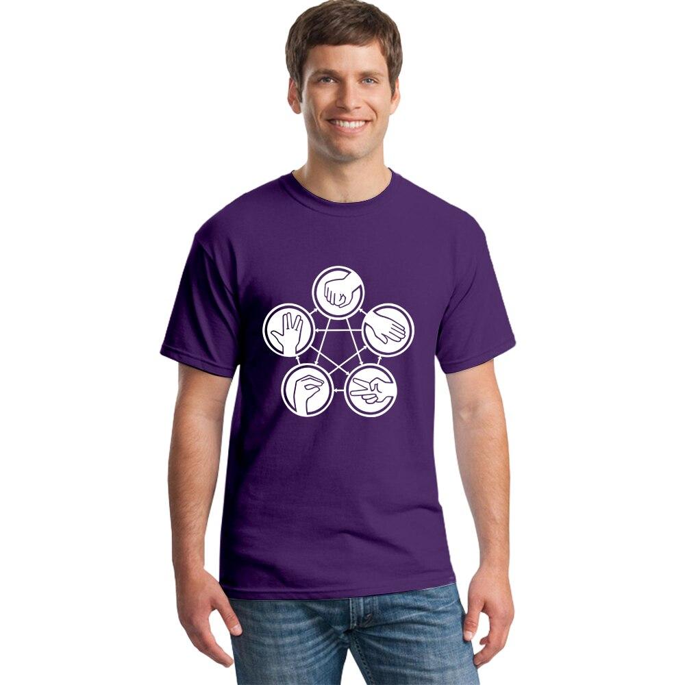 Rock Paper Scissors Lizard Spock Sheldon Funny T-shirt Summer Casual Male T Shirt Geek Fashion Cool Tops Tee Tshirt for Men