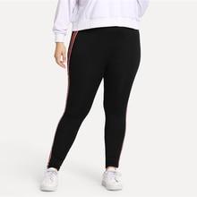 Women's Plus Size Red Striped Skinny Sport Leggings