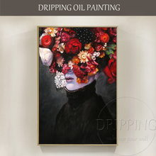 ФОТО  Skilled Artist Hand-painted Top  Abstract Woman Figure Oil Painting on Canvas Abstract Face with Flower Oil Painting
