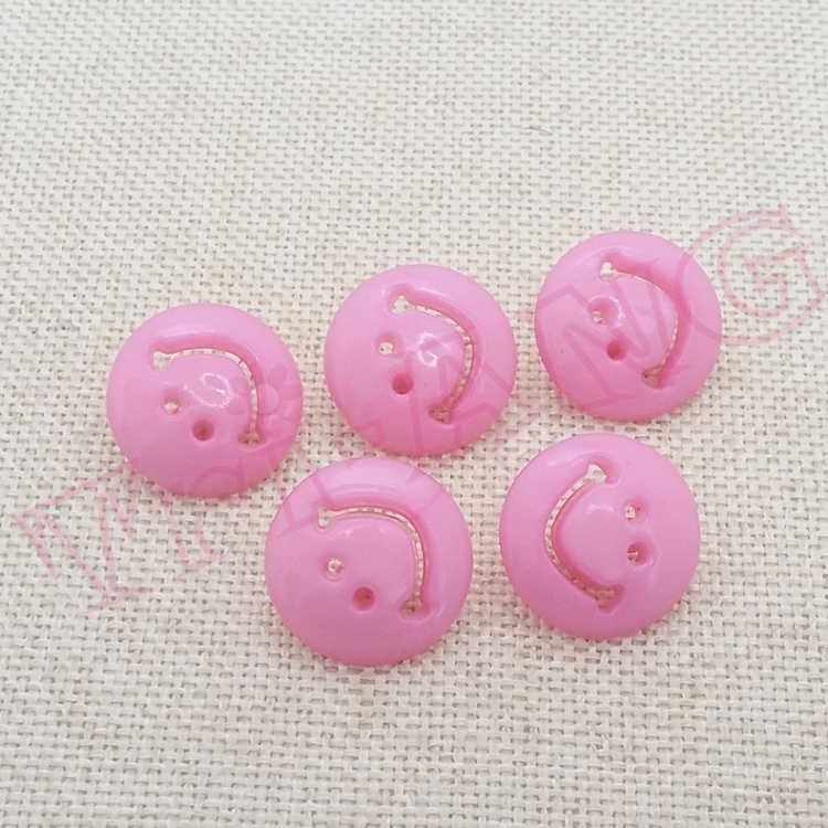 5x Pink Happy Face Shank Buttons 15mm New