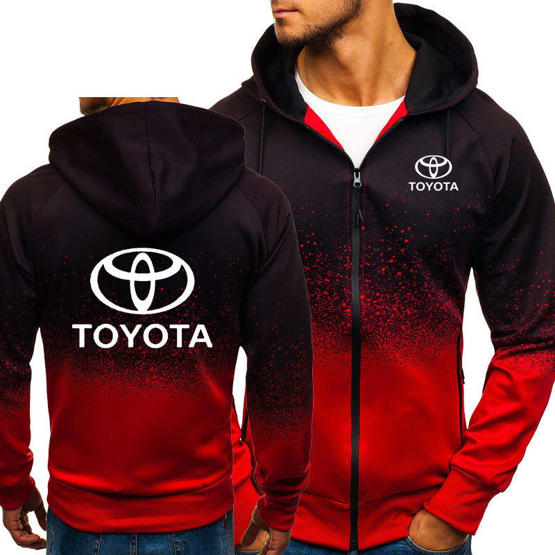 Hoodies Men Toyota Car Logo Print Casual HipHop Harajuku Gradient Color Hooded Fleece Sweatshirts Zipper Jacket Man Clothing