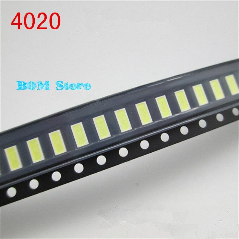 100 шт./лот <font><b>4020</b></font> SMD <font><b>LED</b></font> Бусины Холодный белый 1 Вт 6 В 150ma для ТВ/ЖК-дисплей Подсветка <font><b>LED</b></font> Подсветка высокая Мощность <font><b>LED</b></font> <font><b>4020</b></font> Бесплатная доставка