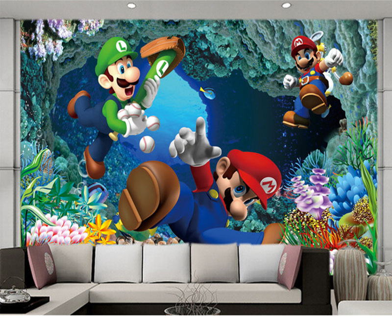 Large Living Room Bedroom Tv Background Wallpaper Children S Fairy Tale World Of Super Mario Mural In Wallpapers From Home
