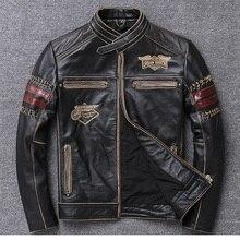 1 шт., Мужская винтажная стильная куртка из натуральной воловьей кожи, байкерская куртка для мотокросса, облегающая мотоциклетная куртка