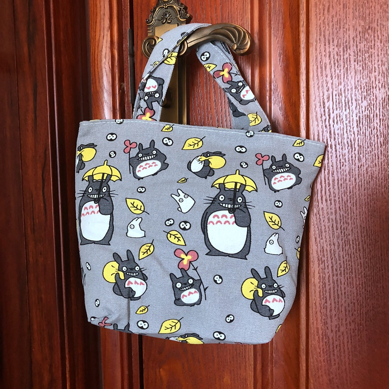 Totoro Lunch Bag Cartoon Cute Bags Canvas Picnic Travel Storage Bag Fashion Lunch Bags for Women Girls Ladies Kids