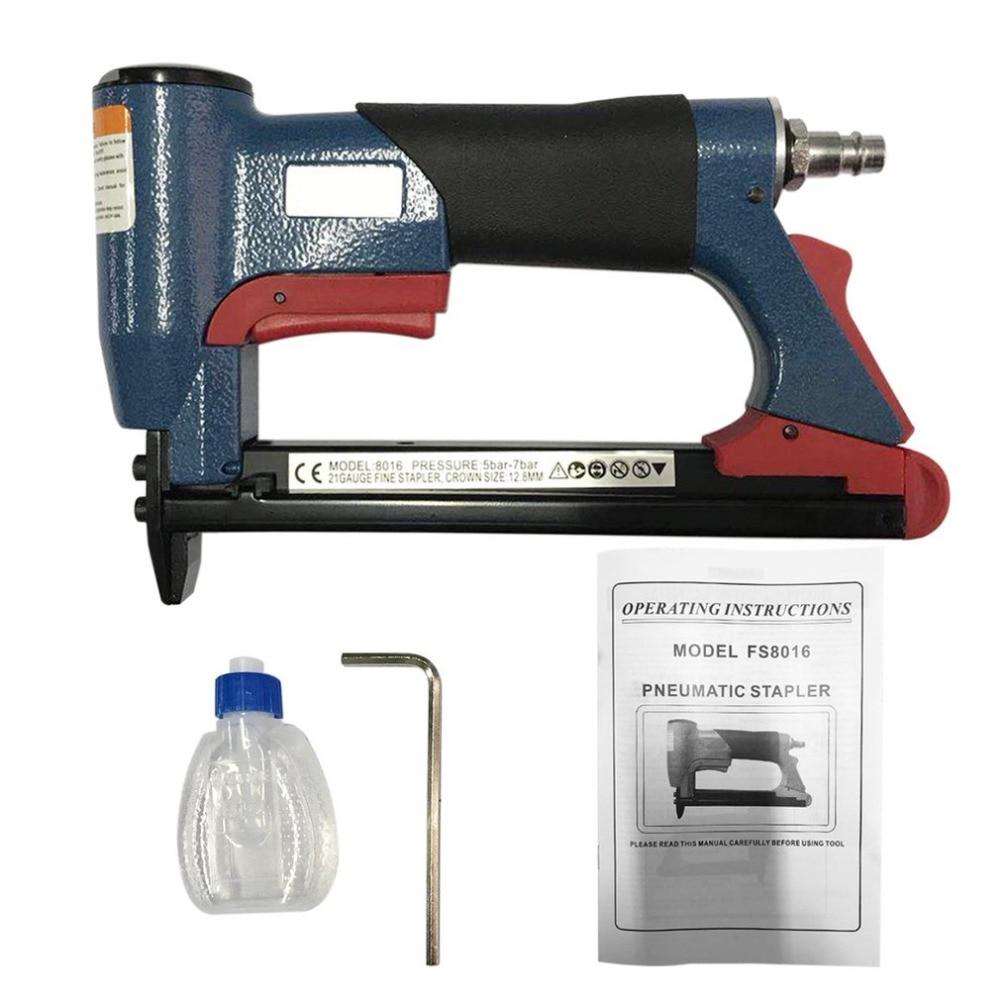 1/2 Fine Crown Nail Stapler Pneumatic Air Stapler Nailer Nail Staple Stapling Gun 4-16mm Woodworking Pneumatic Air Power Tool