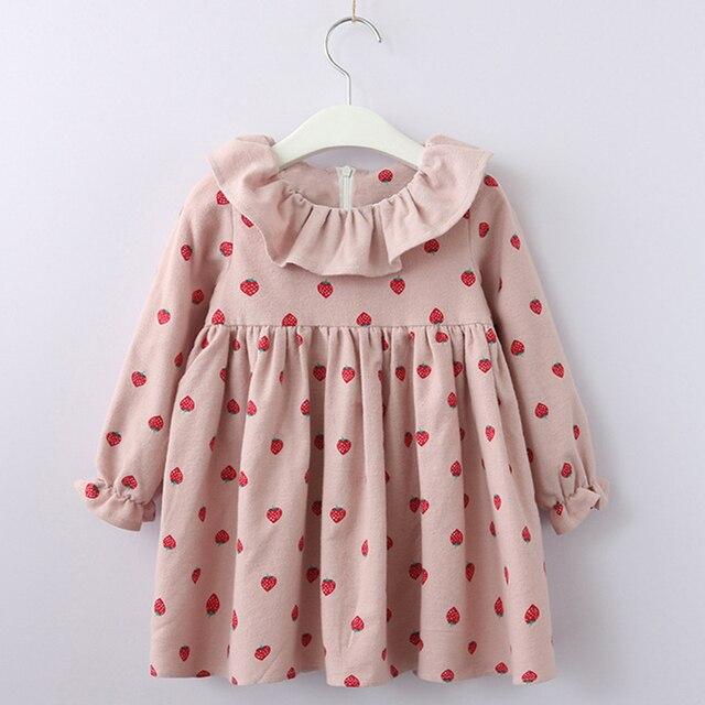 Осеннее платье для девочек, коллекция 2018 года, детское платье-пачка с рукавами «Питер Пэн», Повседневное платье с клубничкой для детей, 2 цвета, праздничное платье, одежда