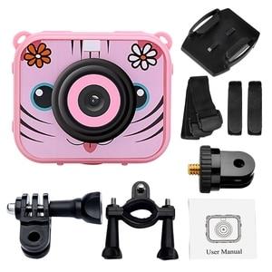 Image 4 - Милая Детская цифровая видеокамера, 1080p, Спортивная экшн камера, 30 м, водонепроницаемая Встроенная батарея, подарок для детей, мальчиков и девочек