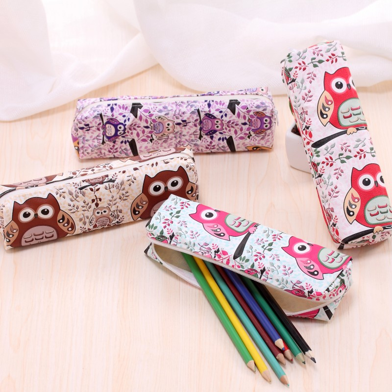 aa09cc0635 Novelty Owl PU leather pencil case for girls Kawaii kitty pen bag  stationery pouch Korean stationery school office supplies