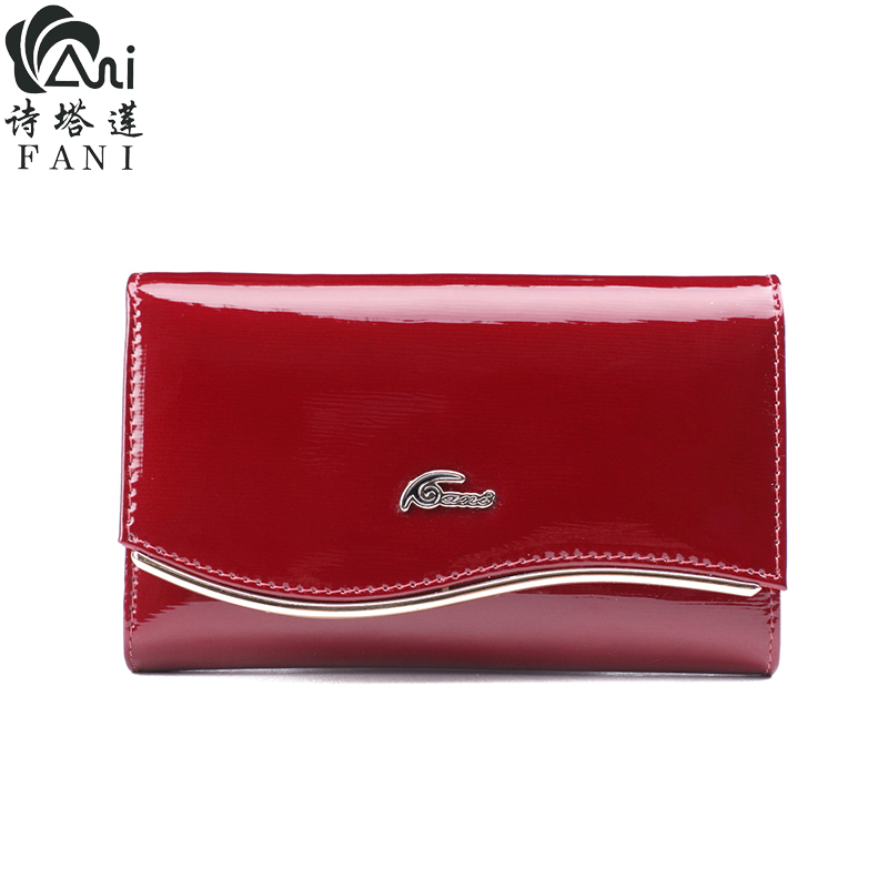 FANI Large Capacity Women Clutch Quality Wallet Split Leather Wallet Female Wallet Women Purse Flower Coin Purse