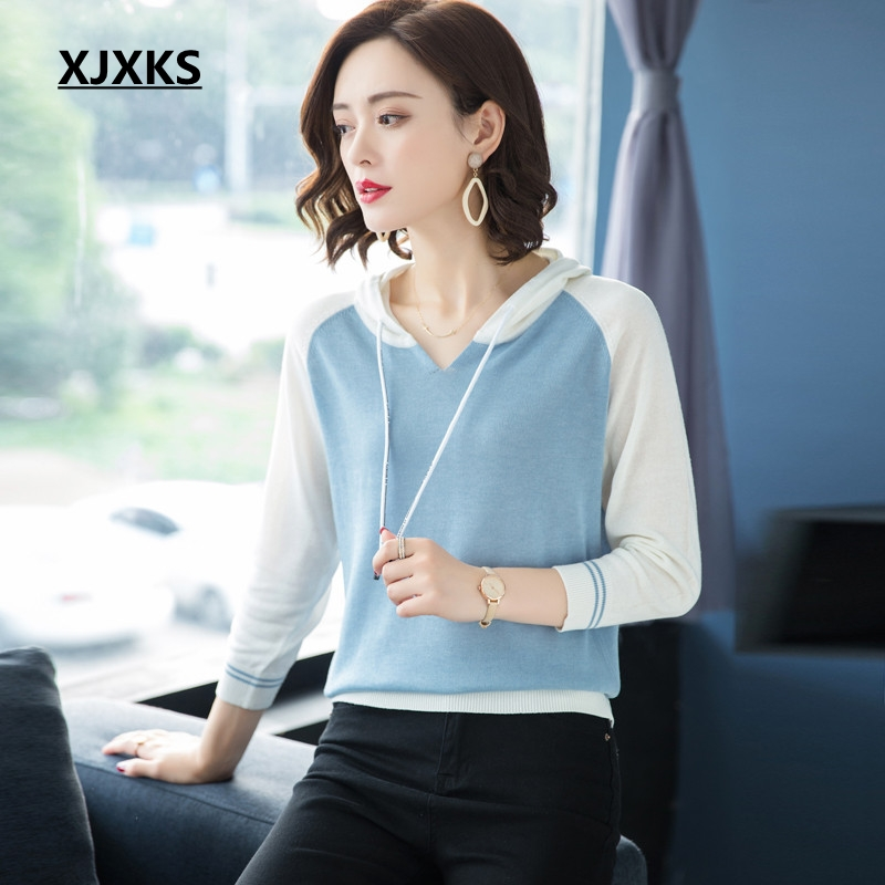 Patchwork Woman And Three High Pullovers Black Young Quarter pink Xjxks Autumn Casual Sweater Hooded Women Sleeved blue Quality Sweaters Ladies FBwwq8