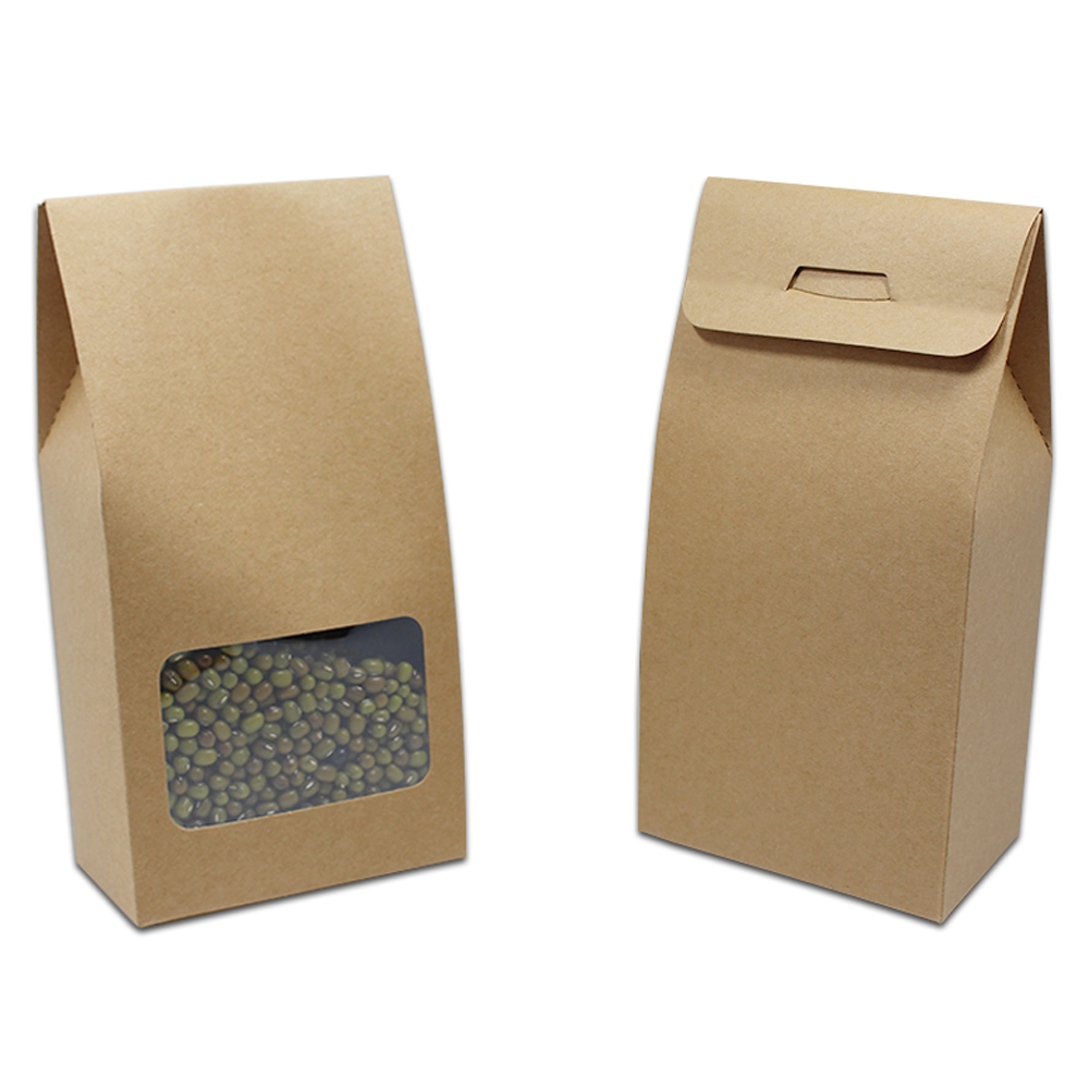 25Pcs Brown Kraft Paper Folding Carton Box With Window Screen Gift Craft Candy Chocolate Packaging Wedding Party 8x15.5+5cm