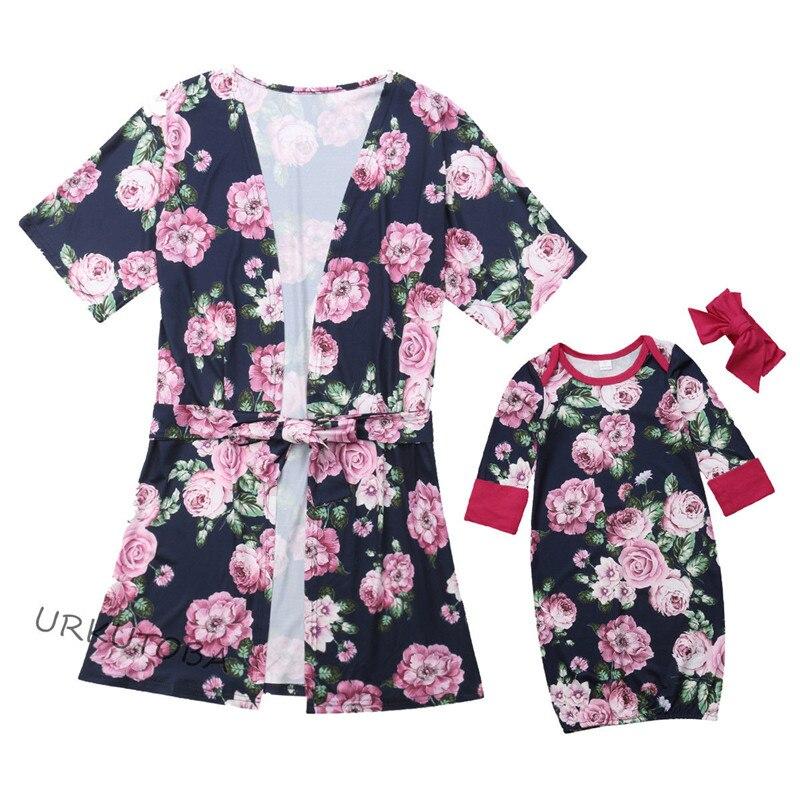 Family Matching Robe Headband Pajamas-Set Swaddle Comfy Outfits Nightgown Sleepshirt
