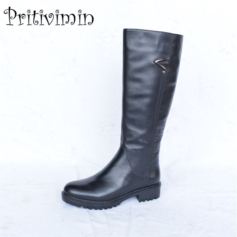 2017 Ladies cow leather bottes femmes winter women warm real fur lined handmade shoe girl thick heel riding boots PritiviminFN33