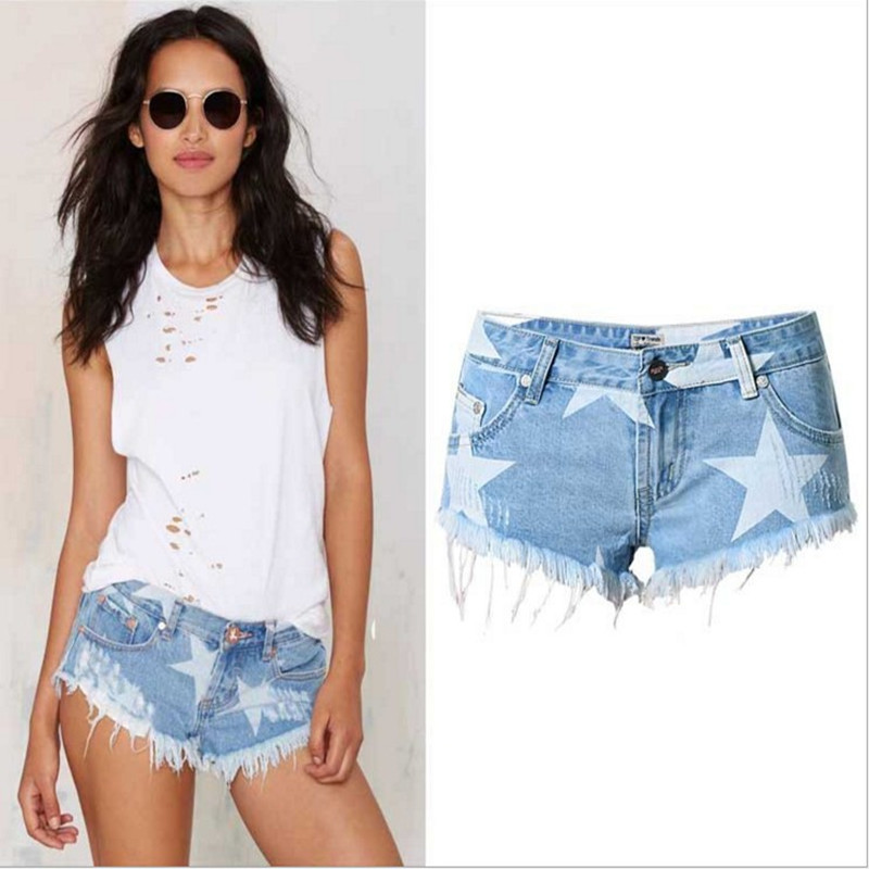 Jeans Shorts Print Sexy Vintage Summer Women Casual Hot Club Beach Tassel Bottoms Party
