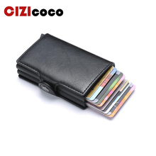 Cizicoco Fashion Metal Card Holder RFID Blocking Aluminium Box Business ID Credit Card holder Hasp PU Leather Mini Card Wallet