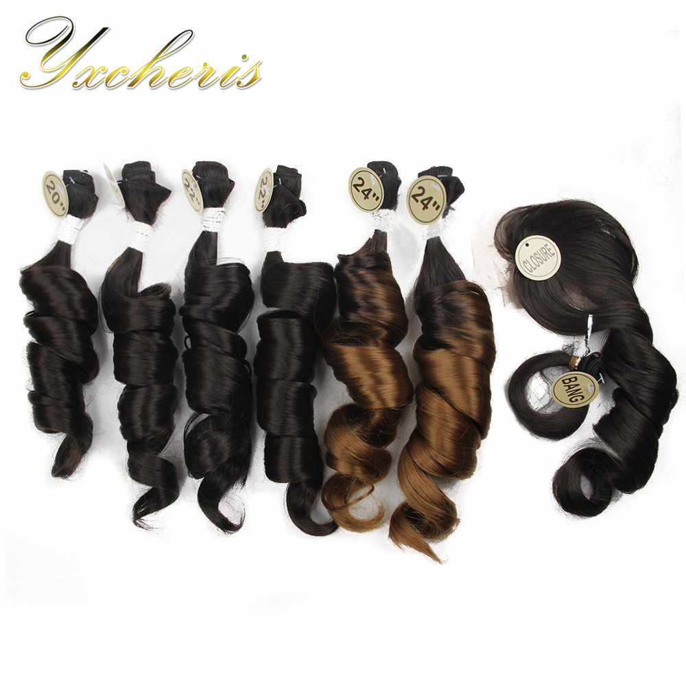 "YXCHERISHAIR 8Pcs/pack Synthetic Loose Wave Hair Bundles with Closure and Bang 20"" 22"" 24"" Double Weft High Temperature Fiber"