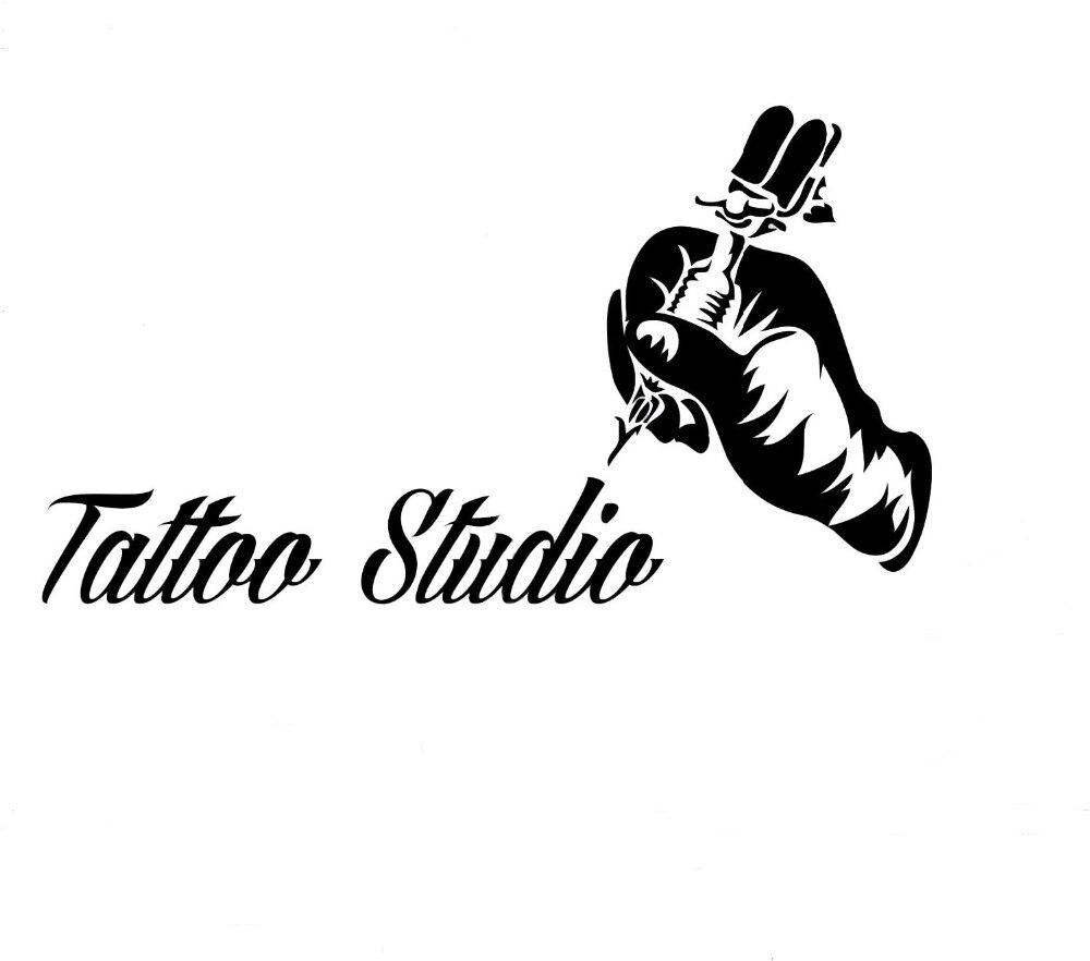 Tattoo salon mesin vinyl wall stiker dinding dekorasi jendela tato tangan removable dinding decals tato studio logo zb154 di wall stickers dari rumah