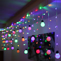 220V 5CM big size 4*0.65M 140Leds 28Balls LED Curtain String Light For Home Wedding Party Xmas Fairy String Lights Christmas