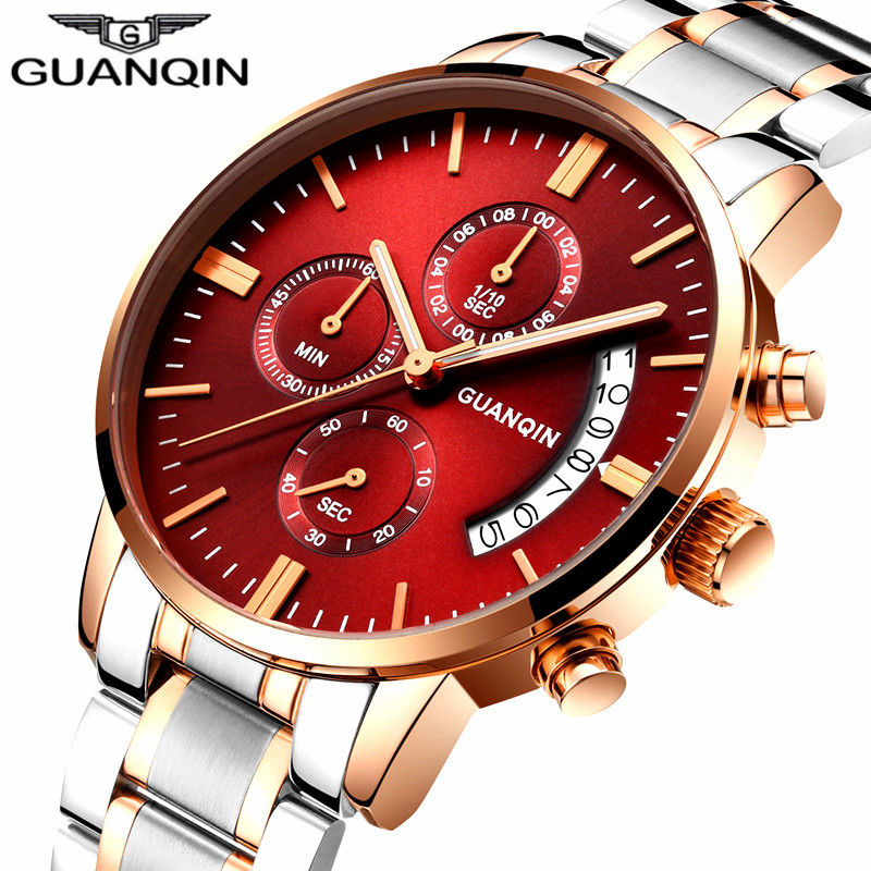 relogio masculino GUANQIN Mens Watches Top Brand Luxury Quartz Watch Men Business Casual Stainless Steel Waterproof Wristwatch guanqin mens watches top brand luxury casual quartz watch men full steel auto date waterproof wristwatch relogio masculino