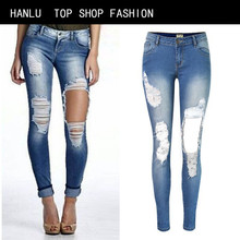 HANLU Rushed Plus Size Pants Big European And American Popular Personality Frayed Hole Beggar Slim Low Waist Stretch Feet