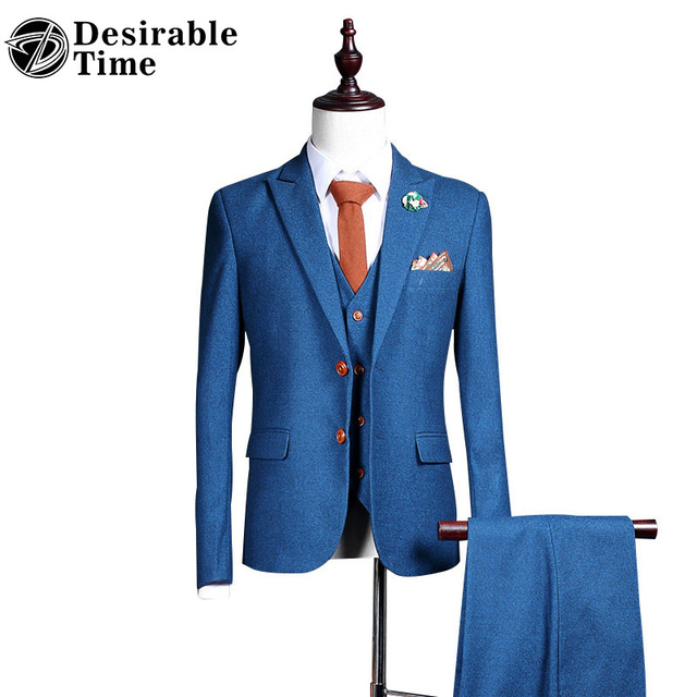 Men Blue Tailored Wedding Suit 3 Pieces Fashion Slim Fit Mens Custom Made Stage Suits With Pants DT325