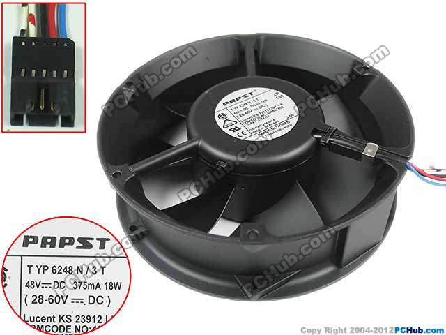 papst TYP 6248 N3T DC 48V 18W, 172x172x50mm 5-wire, 5 Connector Server Round fan free delivery typ 5118 n 12 dc 48 v 9 5 w fan three lines all metal resistance to high temperature