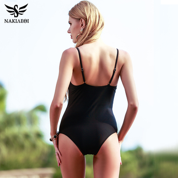 NAKIAEOI One Piece Swimsuit 2018 Sexy Swimwear Women Bodysuit Bathing Suit Vintage Beach Wear Print Bandage Monokini Swimsuit XL 1