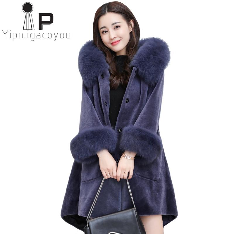 Elegant Ladies Faux Sheepskin Coat Winter Warm Fox Fur Collar Long Fur Jacket Women Plus size Fluffy Faux Fur Coat Women Outwear