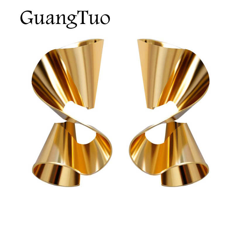 EK2204 European Exaggerated Asymmetry Irregular Big Spiral Folded Wave Metal Drop Earring For Women Statement Gold Color Earring