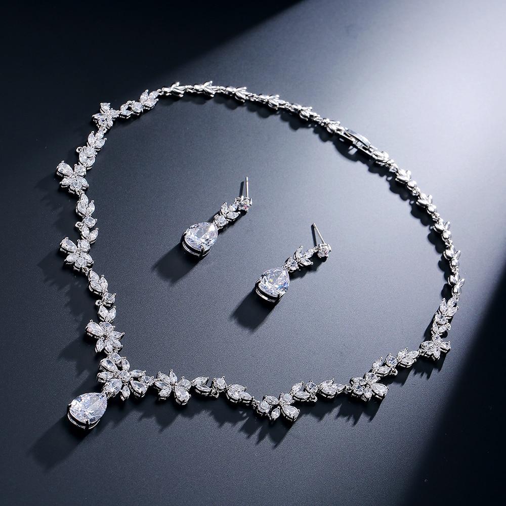 UILZ, изысканная маркиза, кластер, цветок, кристалл, цирконий, набор украшений для женщин, Свадебный, лучший подарок US010