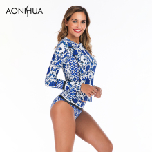 Aonihua 2019 Summer Two Piece Separate Swimsuit Women Floral Printed Triangle Swimming Suit For Plus Size Swimwear S-2XL