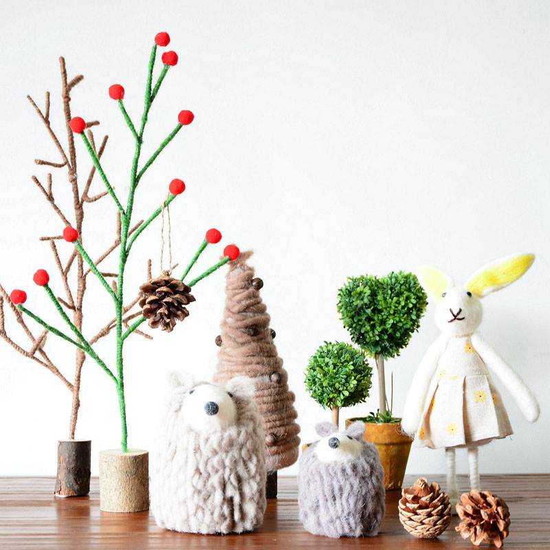 Christmas decorations Wool Squirrel Hedgehog Christmas Tree Plush Children Room Decoration Gift Photography Gift For Kids