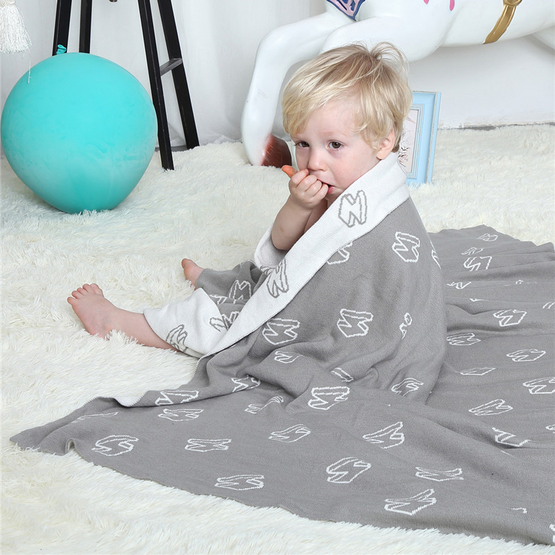 AINAAN Baby Blanket Gray White Cute Knitted Plaid For Bed Sofa Cobertores Mantas BedSpread Bath Towels Play Mat Gift , Lightning