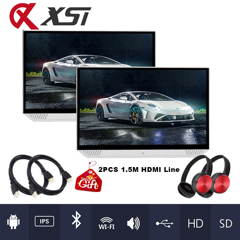 2PCS 13 3 Inch Android 6 0 Car Headrest Monitor 1080P HD Touch Screen WIFI Bluetooth