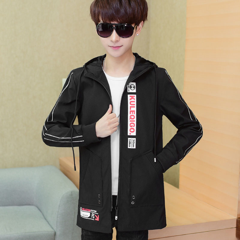 Fashion letter pattern print trench coat students jacket men hooded outerwear 2019 autumn winter collection