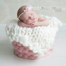 Hot! Newborn Baby Girls Boys Blanket 50*50CM Crochet Knit  Wool Rug Felt Blanket Background  Photo Photography Props 19 Color