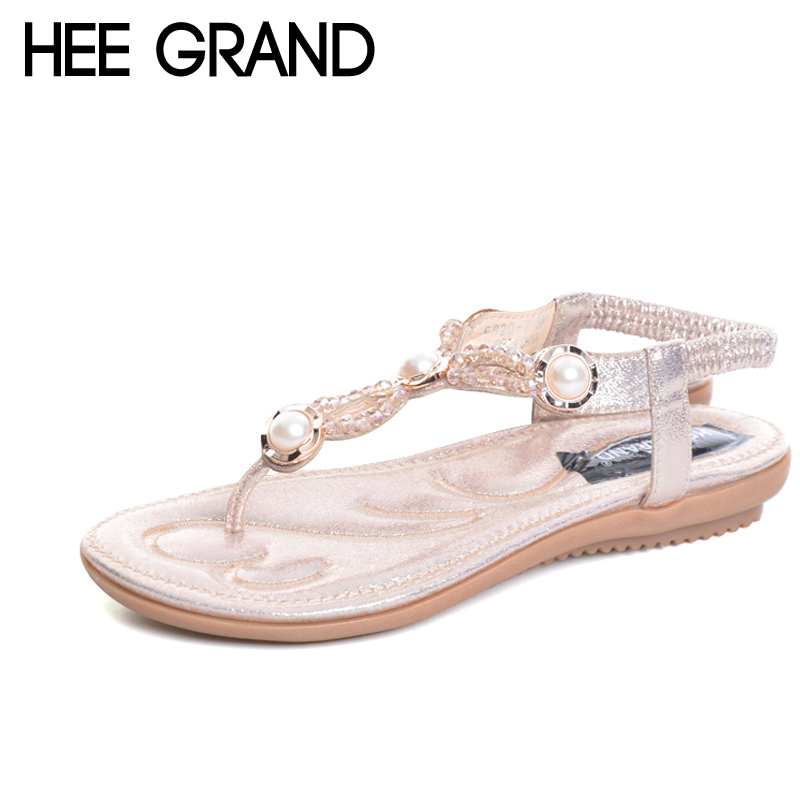 HEE GRAND 2017 Flip Flops Platform Gladiator Sandals Bohemia Creepers Casual Slip On Flats T-Strap Shoes Woman Plus Size XWZ4463 hee grand summer gladiator sandals 2017 new beach platform shoes woman slip on flats creepers casual women shoes xwz3346
