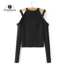 Eileen Elisa Fashion Off Shoulder Solid Knitted Sweater Turtleneck Women Knit Long Sleeve Pullover Outwear Top Casual