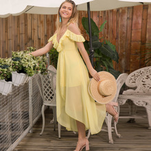 ZAN.STYLE Sexy Deep V Neck Strapless Boho Dress Women Chiffon Sleeveless Summer Beach Dress Backless Maxi Party Dresses Vestidos