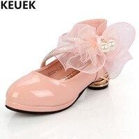 Yeni Pembe Kız Deri Ayakkabı Beyaz Prenses Ayakkabı Çocuk Su Geçirmez Tek Ayakkabı Öğrenci Siyah Elbise Ayakkabı Çocuklar Düşük topuklu 044
