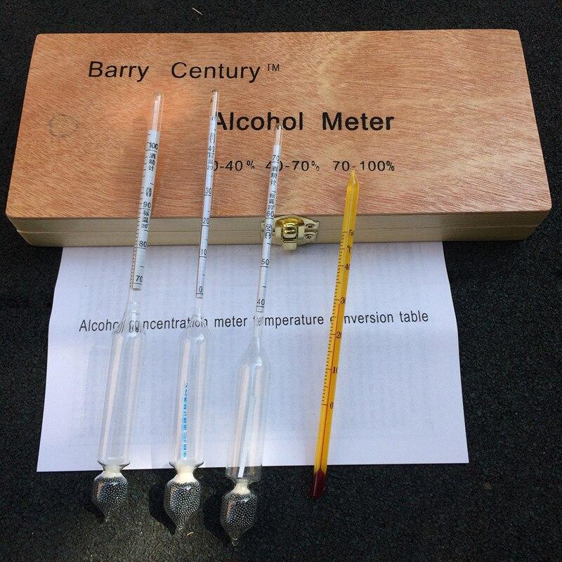 Alcoholetermeter alcohol vino metros concentración vodka whisky alcohol instrumento vino hidrómetro probador caja de madera
