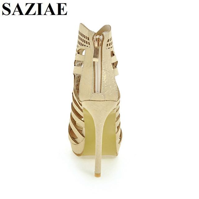 [SAZIAE] Super Fashion Women Sandals 2017 Popular Cut Outs Open Toe Thin Heels Sandals Sexy Black Shoes Woman Plus US Size 4-12