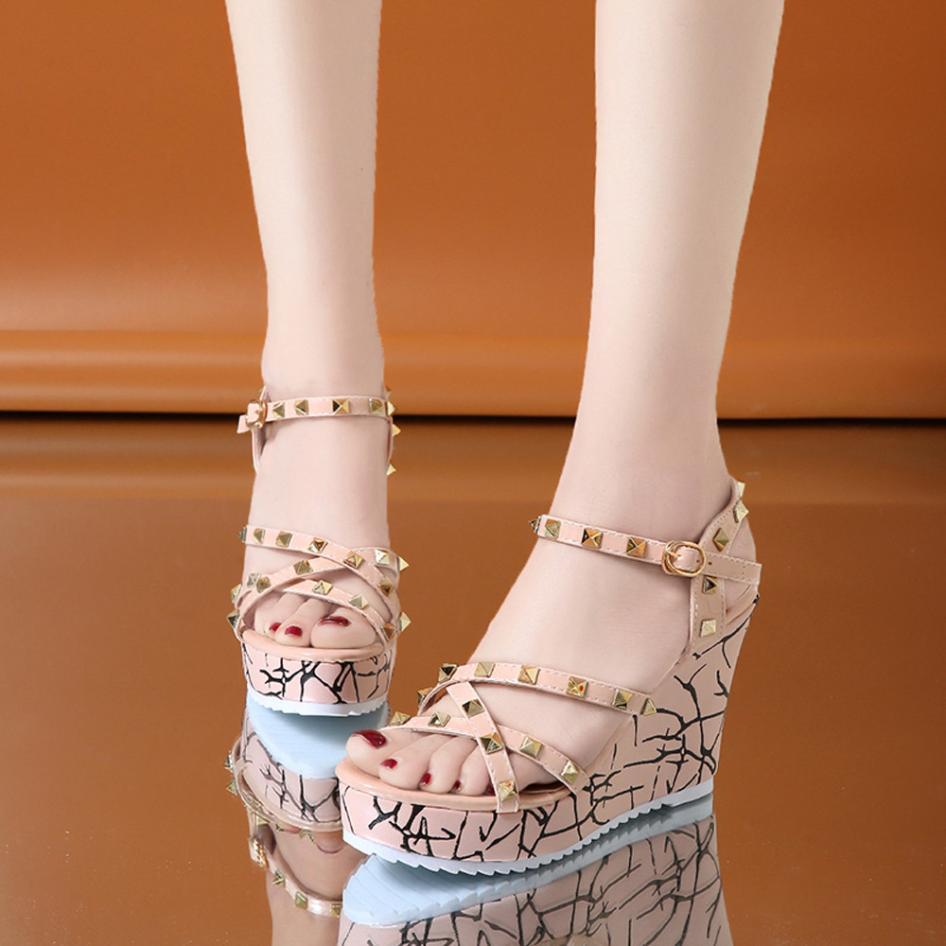 Summer Lady Fashion Wedge High Heels Sandals Elegant Rivets Women Heels Fashion Platform High Heels Wedge Sandals Female Shoes 25