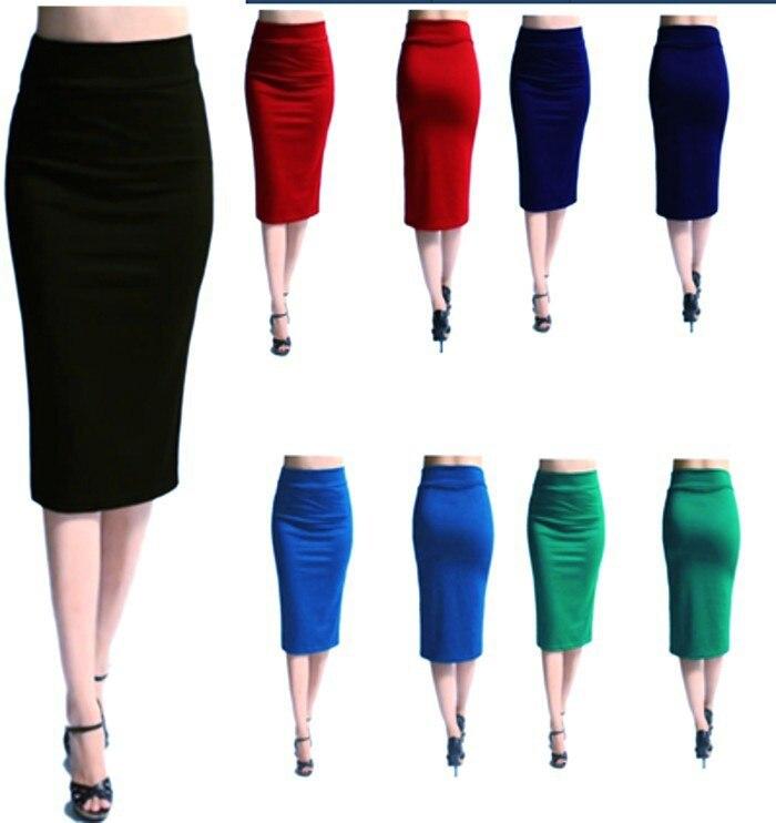 0d54256bf € 8.19 42% de DESCUENTO|Falda de tubo elegante ajustada a media pantorrilla  de cintura alta mezcla faldas de negocios púrpura/rojo/Negro/ ...