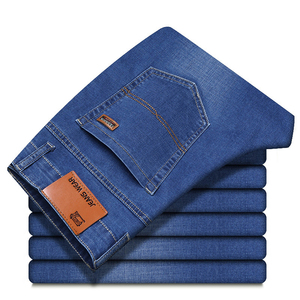Image 3 - Brother Wang Men Jeans Business Casual Light Blue Elastic Force Fashion Denim Jeans Trousers Male Brand Pants