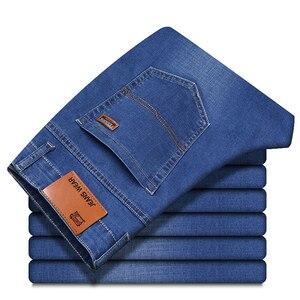 Image 3 - Мужские джинсы Brother Wang, деловой Повседневный светильник, синие эластичные джинсы, модные джинсовые брюки, мужские Брендовые брюки