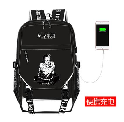 2018 new hot sale High Q Anime Tokyo ghoul backpack UNISEX student school bag preppy style usb charge backpack anime tokyo ghoul cosplay anime shoulder bag male and female middle school student travel leisure backpack